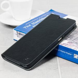The Olixar leather-style HTC Desire 530 / 630 Wallet Case in black provides enclosed protection and can also be used to hold your credit cards. The case also transforms into a viewing stand for added convenience.