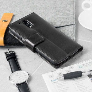 A sophisticated lightweight black genuine leather case with a magnetic fastener. The Olixar genuine leather wallet case offers perfect protection for your Lenovo Moto G4 Plus, as well as slots for your cards, cash and documents plus a built-in stand.