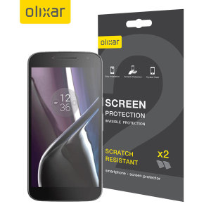 Keep your Moto G4's screen in pristine condition with this Olixar scratch-resistant screen protector 2-in-1 pack.