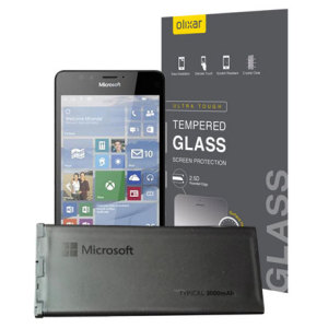 This great value accessory pack provides you with a ultra-thin tempered glass screen protector and an official Microsoft Lumia 950 replacement battery