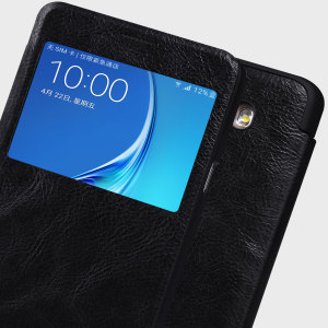 Ideal for checking the time or viewing and answering incoming calls, the Nillkin Qin Real Leather Window Case for the Samsung Galaxy J7 2016 is slim, stylish and practical.