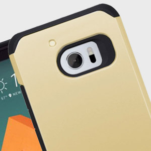 Provide your HTC 10 with tough, rugged protection in a slim and stylish package with the incredibly protective Slim Hybrid case in black and gold from Zizo. The Slim Hybrid is extremely tough due to its dual layered and shock absorbent design.