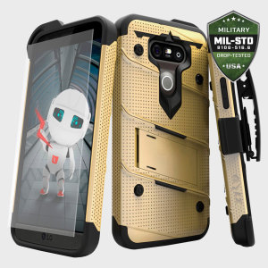 Equip your LG G5 with military grade protection and superb functionality with the ultra-rugged Bolt case in gold and black from Zizo. Coming complete with a tempered glass screen protector and a handy belt clip / kickstand.