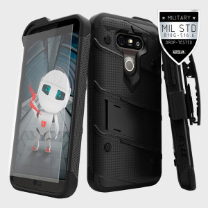 Equip your LG G5 with military grade protection and superb functionality with the ultra-rugged Bolt case in black from Zizo. Coming complete with a tempered glass screen protector and a handy belt clip / kickstand.