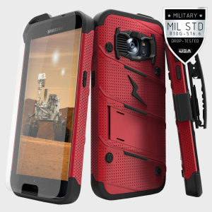 Equip your Samsung Galaxy S7 with military grade protection and superb functionality with the ultra-rugged Bolt case in red and black from Zizo. Coming complete with a tempered glass screen protector and a handy belt clip / kickstand.