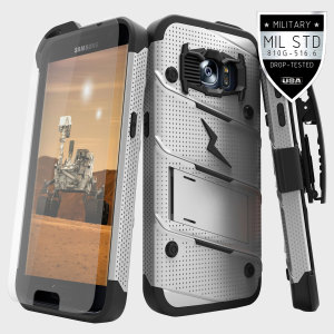 Equip your Samsung Galaxy S7 with military grade protection and superb functionality with the ultra-rugged Bolt case in steel grey and black from Zizo. Coming complete with a tempered glass screen protector and a handy belt clip / kickstand.