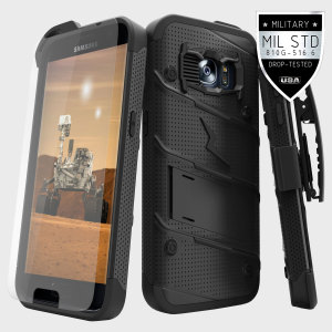 Equip your Samsung Galaxy S7 with military grade protection and superb functionality with the ultra-rugged Bolt case in black from Zizo. Coming complete with a tempered glass screen protector and a handy belt clip / kickstand.