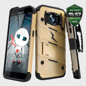Equip your Samsung Galaxy S7 Edge with military grade protection and superb functionality with the ultra-rugged Bolt case in gold and black from Zizo. Coming complete with a handy belt clip and integrated kickstand.