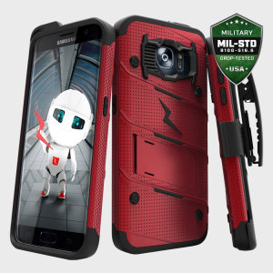 Equip your Samsung Galaxy S7 Edge with military grade protection and superb functionality with the ultra-rugged Bolt case in red and black from Zizo. Coming complete with a handy belt clip and integrated kickstand.