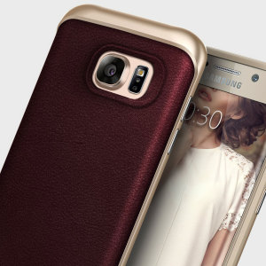 Coque Galaxy S7 Edge Caseology Envoy Series – Cuir Couleur Cerise