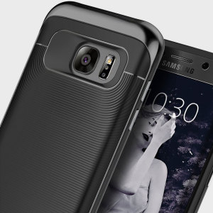 Made from rugged TPU and tough polycarbonate and featuring a stunning waved grip design, the Wavelength Series tough case in all black keeps your Galaxy S7 Edge safe, slim and stylish.
