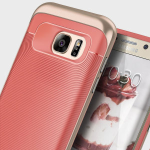 Made from rugged TPU and tough polycarbonate and featuring a stunning waved grip design, the Wavelength Series tough case in coral pink keeps your Galaxy S7 Edge safe, slim and stylish.