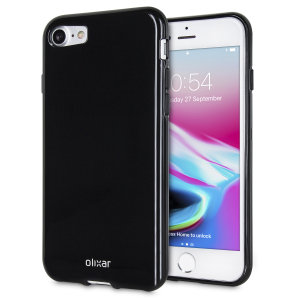 FlexiShield iPhone 8 / 7 Gel Deksel - Sort