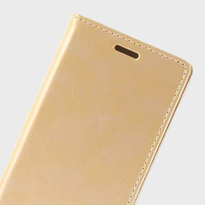 The Mercury Blue Moon Wallet case in gold for the  Samsung Galaxy S6 delivers exceptional style in a slim and sleek package. Crafted from premium materials, the case looks amazing and features slots for your cards and documents.