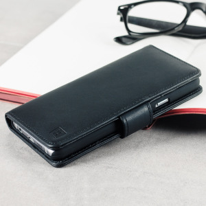 A sophisticated lightweight black genuine leather case with a magnetic fastener. The Olixar genuine leather wallet case offers perfect protection for your Samsung Galaxy A3 2016, as well as featuring slots for your cards, cash and documents.