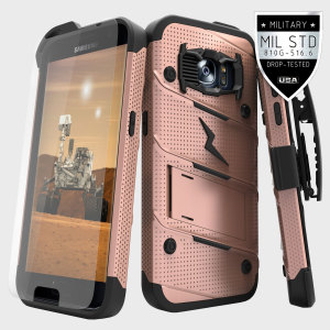 Equip your Samsung Galaxy S7 with military grade protection and superb functionality with the ultra-rugged Bolt case in rose gold and black from Zizo. Coming complete with a tempered glass screen protector and a handy belt clip / kickstand.