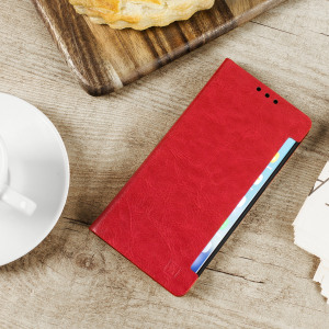 Protect your Samsung Galaxy Note 7 with this durable and stylish red leather-style wallet case from Olixar. What's more, this case transforms into a handy stand to view media.