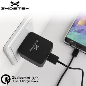The Ghostek Qualcomm QuickCharge 2.0 USA Wall Charger will charge your device four times quicker than an average mains charger for your smartphone or tablet. Qualcomm 2.0 chargers are upto 75% faster than conventional chargers.