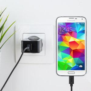 Cargue su Samsung Galaxy S5 o cualquier otro dispositivo mediante conexión USB de manera rápida y eficaz. Este cargador de red Olixar tiene una salida de 2.4A para una carga rápida e incluye un cable Micro USB.