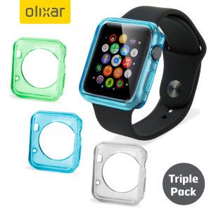 Value triple pack of thin and light protective transparent cases in blue, green and clear for the Apple Watch Series 2 / 1 (38mm) from Olixar. Sleek form-fitted design keeps your Apple Watch slim and safe from harm while still revealing the beauty within.