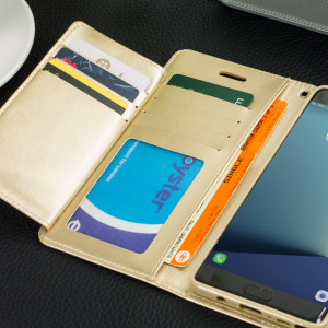 With the perfect blend of elegance, functionality and protection, this luxurious wallet case from Mercury in gold is the ideal companion for your Samsung Galaxy Note 7. Featuring 5 card slots and a document pocket you can carry more, easily.