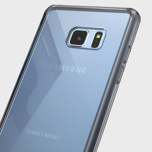Protect the back and sides of your Samsung Galaxy Note 7 with this incredibly durable, crystal clear backed Fusion Case by Ringke with a smoke black frame.