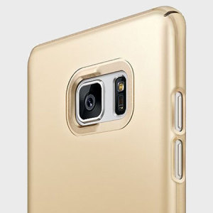 Provide your Samsung Galaxy Note 7 with ultra-thin, tough snap-on protection with this Rearth Ringke Slim royal gold polycarbonate case.