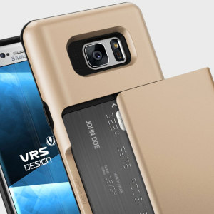 Protect your Samsung Galaxy Note 7 with this precisely designed case in gold from VRS Design. Made with tough yet slim material, this hardshell construction with soft core features patented sliding technology to store two credit cards or ID.