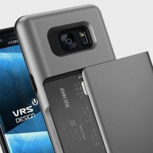 Protect your Samsung Galaxy Note 7 with this precisely designed case in dark silver from VRS Design. Made with tough yet slim material, this hardshell construction with soft core features patented sliding technology to store two credit cards or ID.