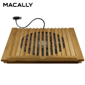 Cool your laptop with this elegant bamboo stand from Macally. Featuring a fan putting out only 23.5 dBA as well as a sturdy, rustic eco-friendly bamboo construction, the Macally EcoFanPro2 will keep your laptop chilled and your workspace quiet.