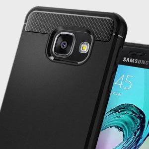 Möt det nydesignade skyddsskalet från Spigen. Tillverkad av flexibelt, robust TPU och med en mekanisk konstruktion, samt en kolfiber textur, håller Rugged Armor skalet i svart din för Samsung Galaxy A3 2016 säker och smal.
