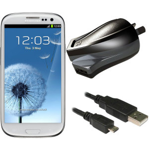 Charge your Samsung Galaxy S3 and any other USB device quickly and conveniently with this compatible 2.4A high power micro USB Australian charging kit. Featuring an AUS wall adapter and a micro USB cable.