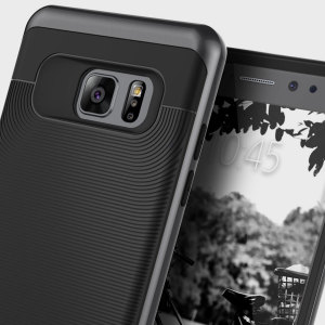 Made from rugged TPU and tough polycarbonate and featuring a stunning waved grip design, the Wavelength Series tough case in black keeps your Galaxy Note 7 safe, slim and stylish.