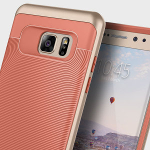 Made from rugged TPU and tough polycarbonate and featuring a stunning waved grip design, the Wavelength Series tough case in coral pink and gold keeps your Galaxy Note 7 safe, slim and stylish.
