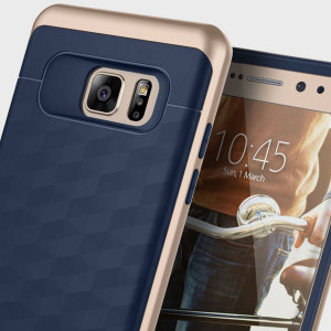 Protect your Samsung Galaxy Note 7 with this stunning premium dual-layered shell case in navy blue and gold. Made with tough dual-layered yet slim material, this hardshell body with a sleek metallic bumper features an attractive two-tone finish.