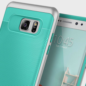 Made from rugged TPU and tough polycarbonate and featuring a stunning waved grip design, the Wavelength Series tough case in turquoise mint and silver keeps your Galaxy Note 7 safe, slim and stylish.