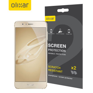 Keep your Huawei Honor 8's screen in pristine condition with this Olixar scratch-resistant screen protector 2-in-1 pack.