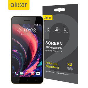 Keep your HTC Desire 10's screen in pristine condition with this Olixar scratch-resistant screen protector 2-in-1 pack.