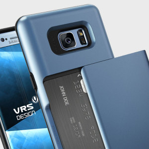 Protect your Samsung Galaxy Note 7 with this precisely designed case in blue from VRS Design. Made with tough yet slim material, this hardshell construction with soft core features patented sliding technology to store two credit cards or ID.