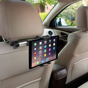 This universal tablet in-car holder will secure your device to your car's headrests allowing passengers to easily position a tablet in order to watch movies or play games while sitting comfortably in the back seat. It even accommodates the iPad Pro 12.9.