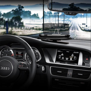 The Head Up Display (HUD) Mount Navigation System allows you to use your smartphone as a HUD. With a selection of apps, you can use this unit to reflect your smartphone display, viewing metrics such as speed, revs and directions.