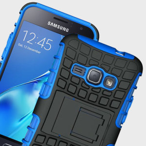Protect your Samsung Galaxy J1 2016 from bumps and scrapes with this blue Olixar ArmourDillo case. Comprised of an inner TPU case and an outer impact-resistant exoskeleton, with a built-in viewing stand.