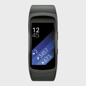 The Samsung Gear Fit2 fitness band in large, you can run with while your phone stays at home. With built-in GPS tracks your running route, keeping you informed about the time, distance covered and notifications through the 1.5 inch super AMOLED screen