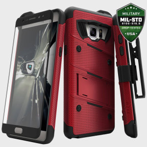 Equip your Samsung Galaxy Note 7 with military grade protection and superb functionality with the ultra-rugged Bolt case in red and black from Zizo. Coming complete with a handy belt clip and integrated kickstand.