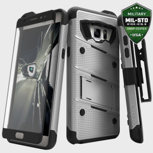 Equip your Samsung Galaxy Note 7 with military grade protection and superb functionality with the ultra-rugged Bolt case in steel and black from Zizo. Coming complete with a tempered glass screen protector, handy belt clip and integrated kickstand.