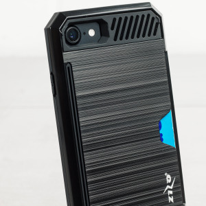 Designed for the iPhone 7 this black dual layered card case from Zizo provides a perfect fit and robust protection against scratches, knocks and drops with the added convenience of credit card-sized slots.