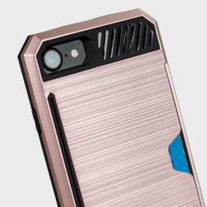 Designed for the iPhone 7 this rose gold and black dual layered card case from Zizo provides a perfect fit and robust protection against scratches, knocks and drops with the added convenience of credit card-sized slots.
