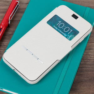 The Moshi SenseCover for the iPhone 7 Plus in Stone White is a unique case with a touch sensitive cover that allows you to quickly view the time/date as well as answering calls without the need to open the case.
