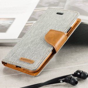 Funda iPhone 7 Mercury Canvas Diary Estilo Cartera - Gris / Camel