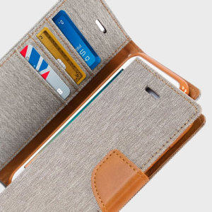With the perfect blend of lightweight and tough materials, mixed with snappy looks, this grey and camel Mercury Canvas Diary Wallet Case is the ideal companion for your iPhone 7 Plus - Especially when you're out and about.